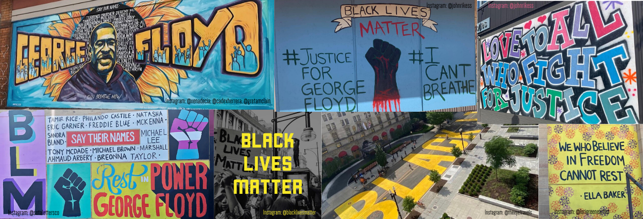 Collage of images and murals by various artists in solidarity with the black lives matter movement