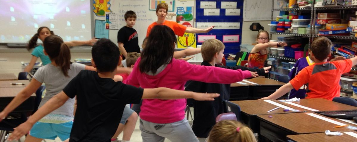 4th grade exercising as part of State Health Improvement Grant activities