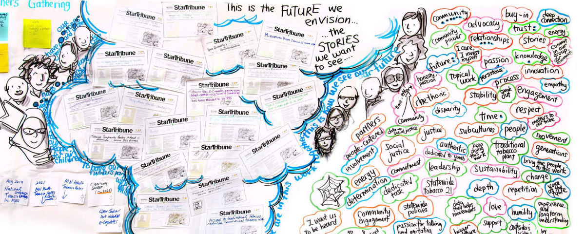 Graphic Storytelling of the collective story that CETI grantees hope to achieve. The image captures hopeful newspaper headlines that the grantees envision seeing about this work.