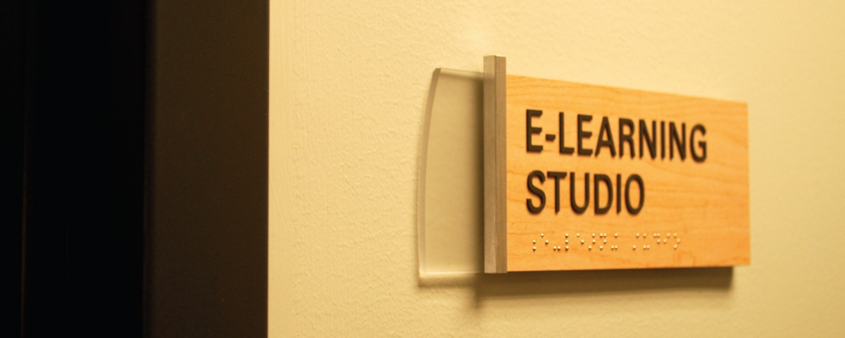 "Image of a sign that states ""E-Learning Studio"""