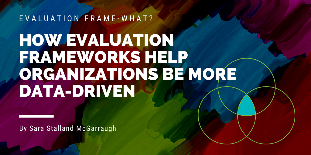 """Graphic of the words """"Evaluation Frame-what? How Evaluation Frameworks Help Organizations be More Data-Driven"""""""