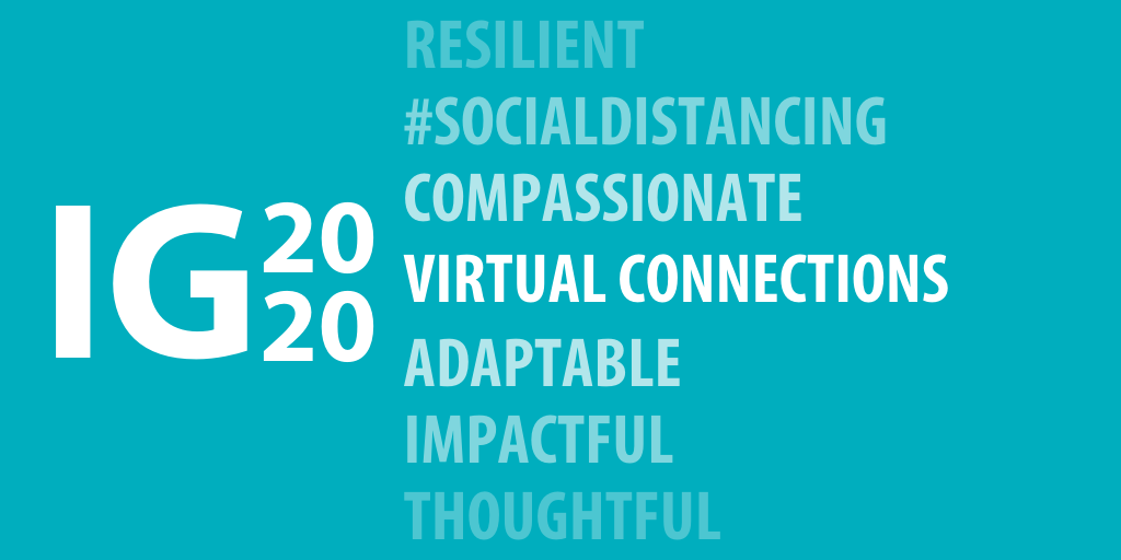 """IG2020 Logo with the statement """"Virtual Connections""""; Other words such as Compassionate, Adaptable, and #SocialDistancing appear in different shades of darkness to convey the different ways connections will grow while we work in distant settings in response to COVID-19."""