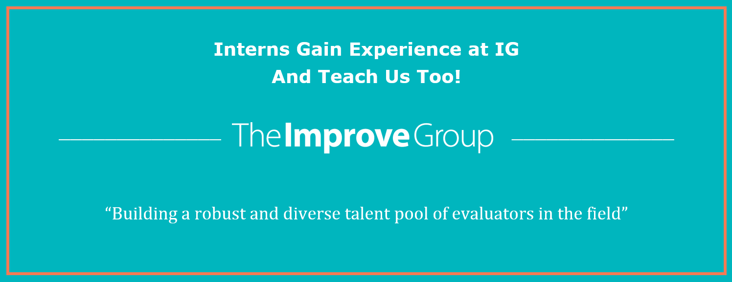 "Graphic that includes The Improve Group logo the article's title and a headline that states ""Building a robust and diverse talent pool of evaluators in the field"""