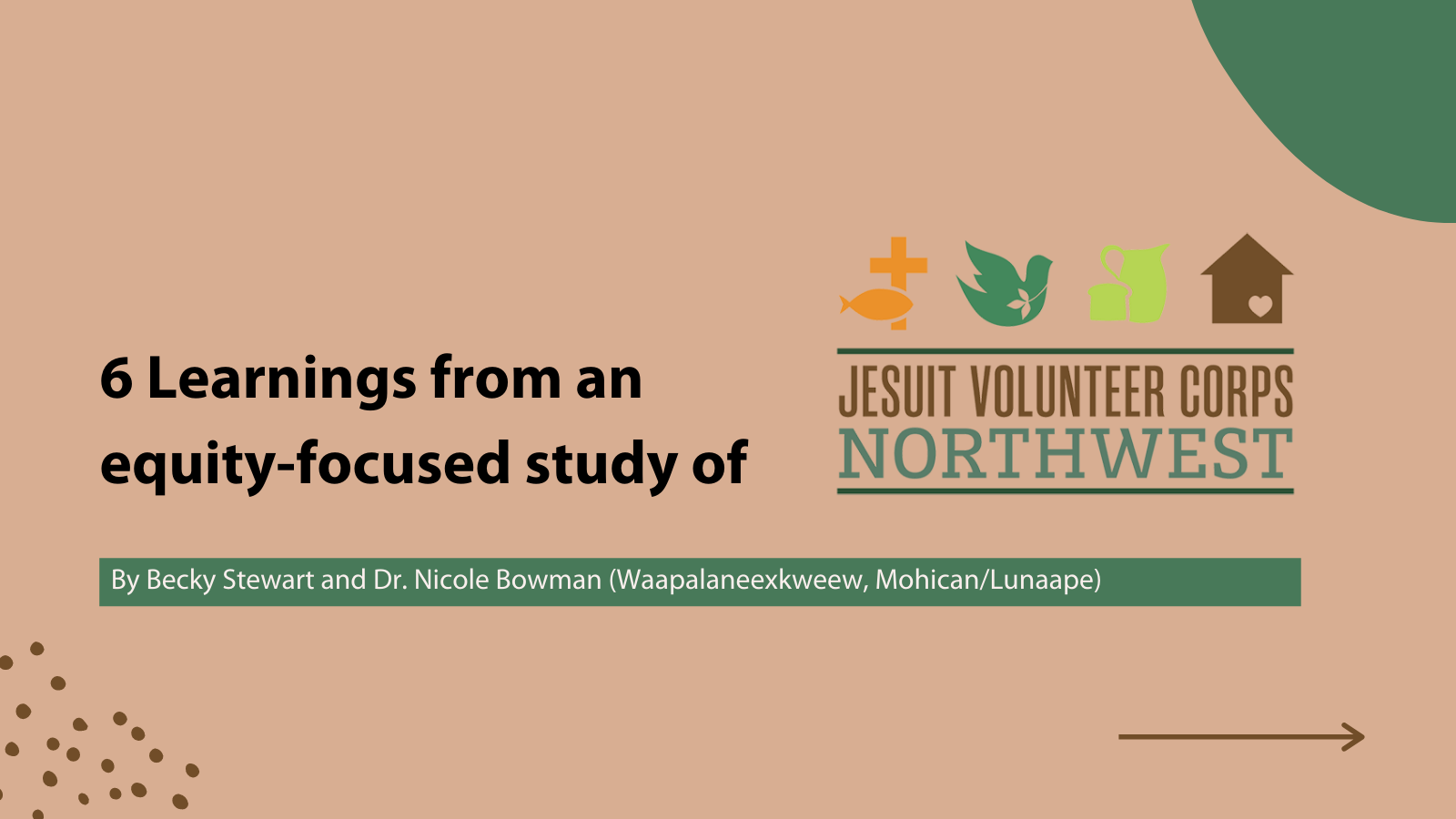 "A graphic image that says ""6 Learnings from an equity-focused study of Jesuit Volunteer Corps Northwest"""