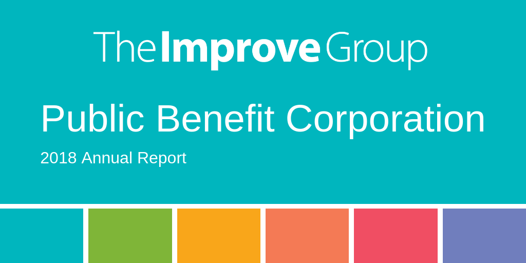 """Graphic of The Improve Group logo that says """"Pubic Benefit Corporation 2018 Annual Report"""""""