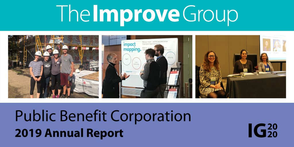 "Collage of Images of The Improve Group staff working in the community with the title ""Public Benefit Corporation 2019 Annual Report"""