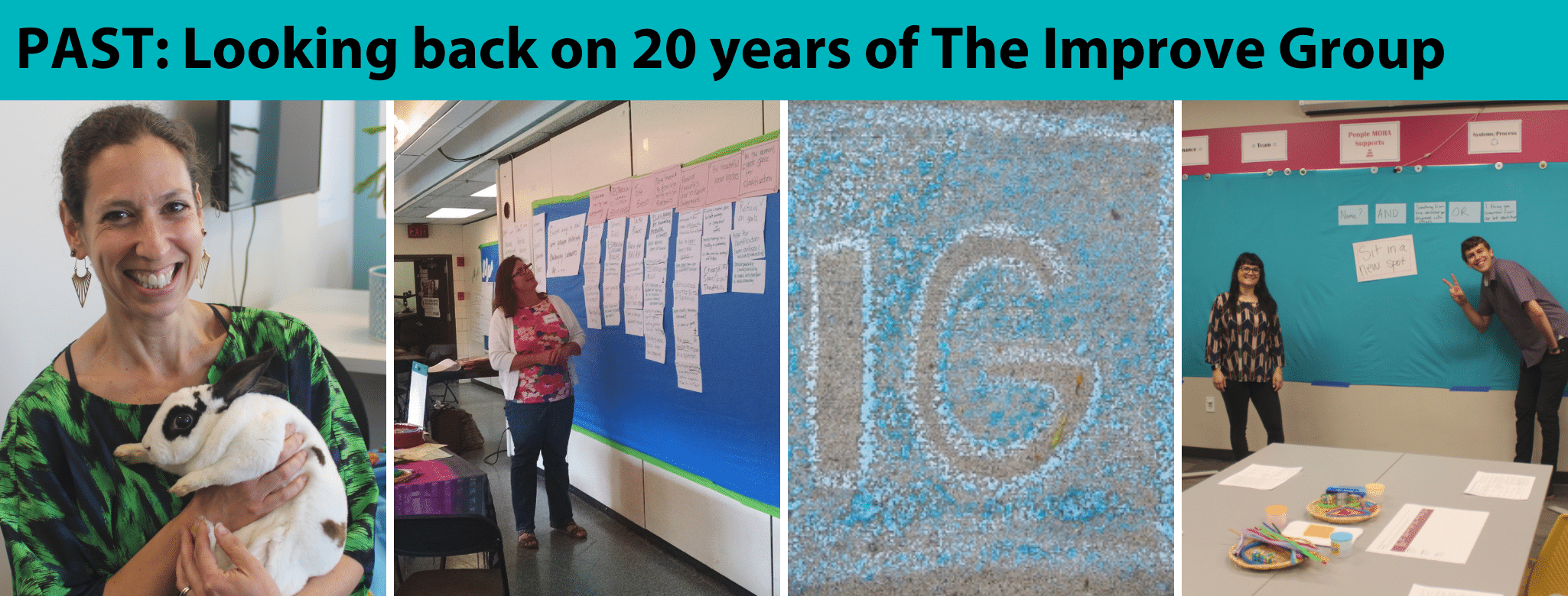 "Image of our team members from over the years and a graphic of text that says ""PAST: Looking back on 20 years of The Improve Group"""