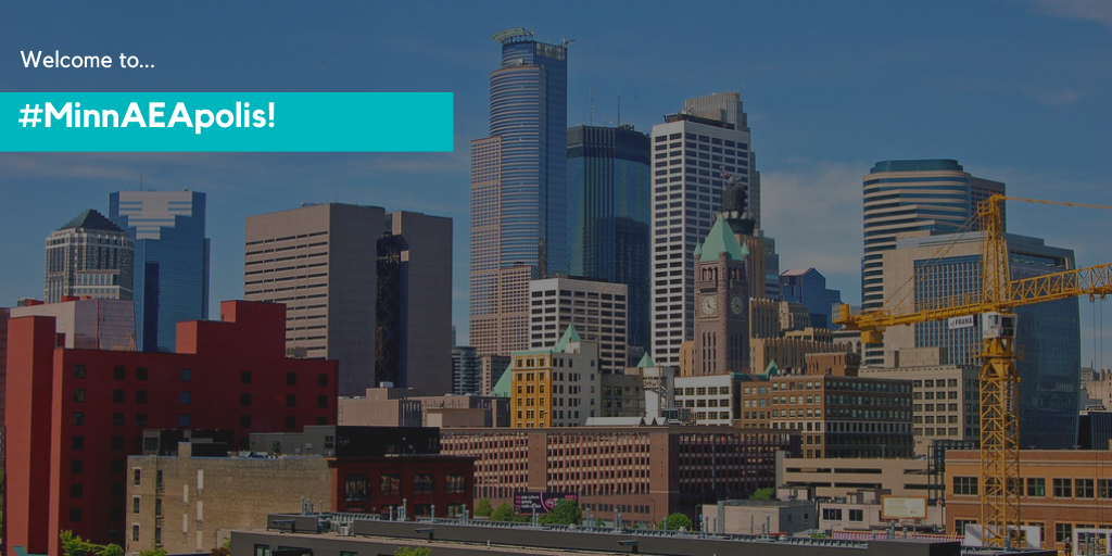 """Image of the Minneapolis Skyline with text that says """"Welcome to #MinnAEApolis"""""""