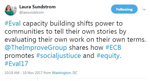 #Eval capacity building shifts power to communities to tell their own stories by evaluating their own work on their own terms. @TheImproveGroup shares how #ECB promotes #socialjustiuce and #equity. #Eval17
