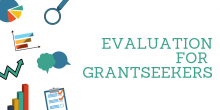 """Image that says """"Evaluation for Grantseekers"""" and includes icons related to data collection and analysis"""