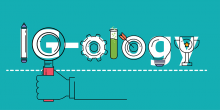 "An image design of the word ""IG-ology"" that includes scientific icons to depict each letter."