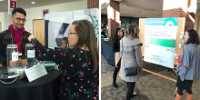 A collage of two images, the left image is a picture of IG Intern Sadman Rahman working with an MCN attendee on a data collection activity, the image on the right depicts IG Intern Yazmin Cespedes and IG CEO Leah Goldstein Moses helping a guest use the Hope-O-Meter