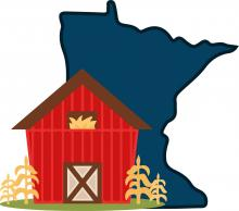 Graphic image of a barn standing in front of the outlines of the State of Minnesota