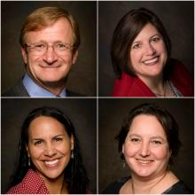 Headshots of new and promoted team members, from upper left corner to bottom right corner: Derek Hazeltine, Maria Moeller, Tia Bastian, and Jenny Franklin.