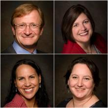 Headshots of new and promoted team members, from upper left corner to bottom right corner: Derek Hazeltine, Maria Moeller, Tia Bastian, and Jenny Franklin.