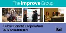 """Collage of Images of The Improve Group staff working in the community with the title """"Public Benefit Corporation 2019 Annual Report"""""""