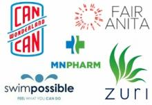 Collage of logos for Can Can Wonderland, Swim Possible, MNPHARM, Zuri, and Fair Anita