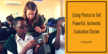Image of Alyssa Scott providing feedback to a student in Kenya as part of her photo storytelling project.