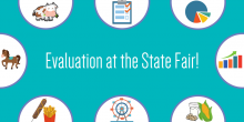 "Graphic image that includes various icons of things you would find at a State Fair, such as food, farm animals, and rides. The text states ""Evaluation at the State Fair!"""