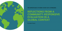 """Graphic of the title of the article with an image of Earth in the background: """"The importance of being good data stewards: Reflections from a community-responsive evaluation in a global context"""""""