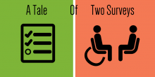 """Graphic image that states """"A Tale of Two Surveys."""" The image is split in half. On one side there is an icon of a traditional survey, on the other side, an icon of a person interviewing another person to gather data."""